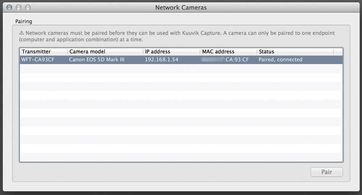 Network camera manger in Kuuvik Capture 1.1 beta