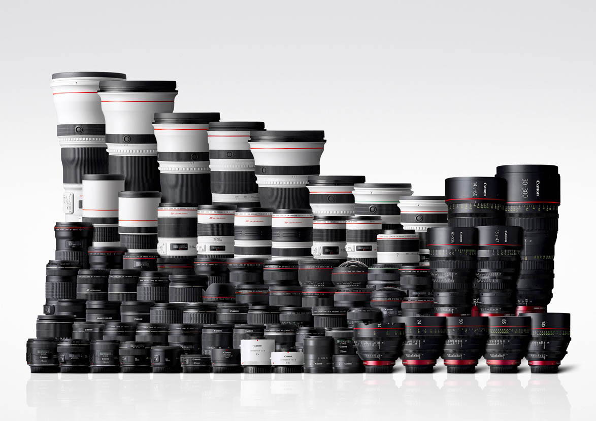 The Canon lens lineup at the time of manufacturing the 100 millionth lens. Image courtesy of Canon.